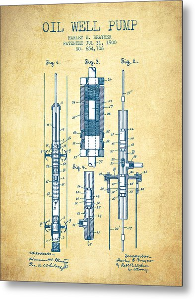 Oil Well Pump Patent From 1900 - Vintage Paper Metal Print