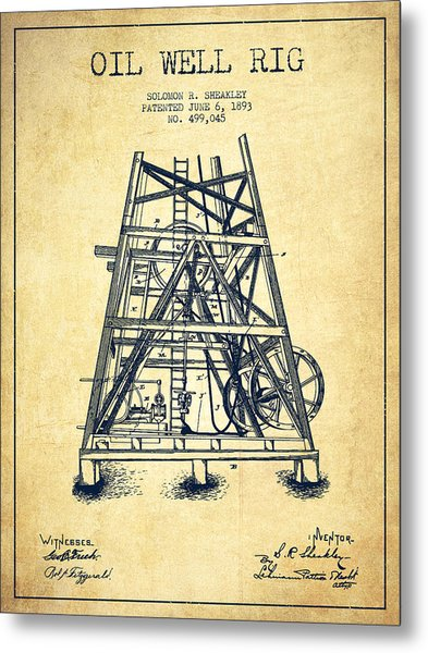 Oil Well Rig Patent From 1893 - Vintage Metal Print