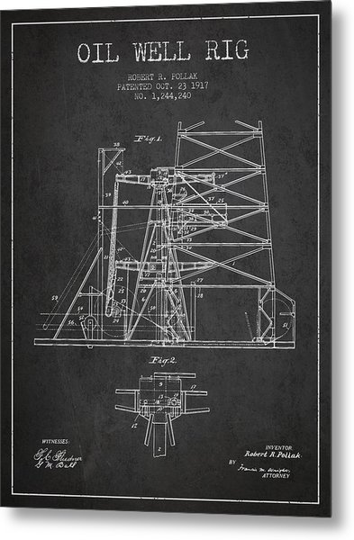 Oil Well Rig Patent From 1917- Dark Metal Print