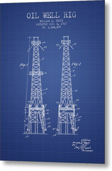Oil Well Rig Patent From 1927 - Blueprint Metal Print