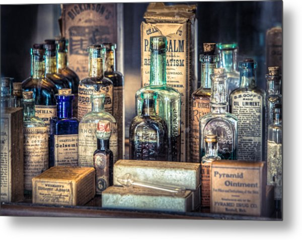 Metal Print featuring the photograph Ointments Tonics And Potions - A 19th Century Apothecary by Gary Heller