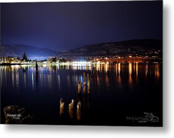Okanagan Lake At Night Metal Print