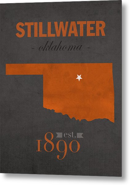 Oklahoma State University Cowboys Stillwater College Town State Map Poster Series No 084 Metal Print