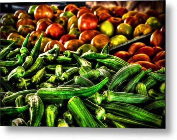 Okra And Tomatoes Metal Print