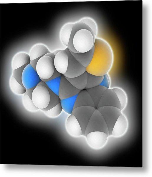 Olanzapine Drug Molecule Metal Print by Laguna Design