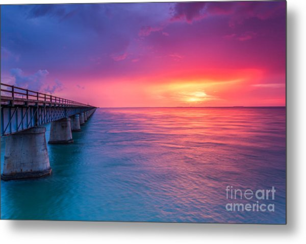 Old 7 Mile Bridge Sunset Metal Print
