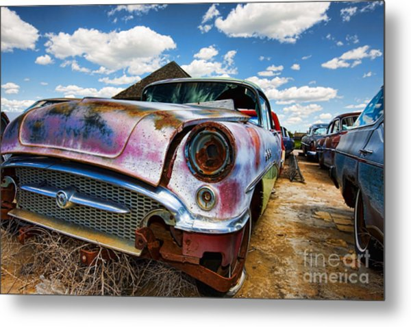 Old Abandoned Cars Metal Print
