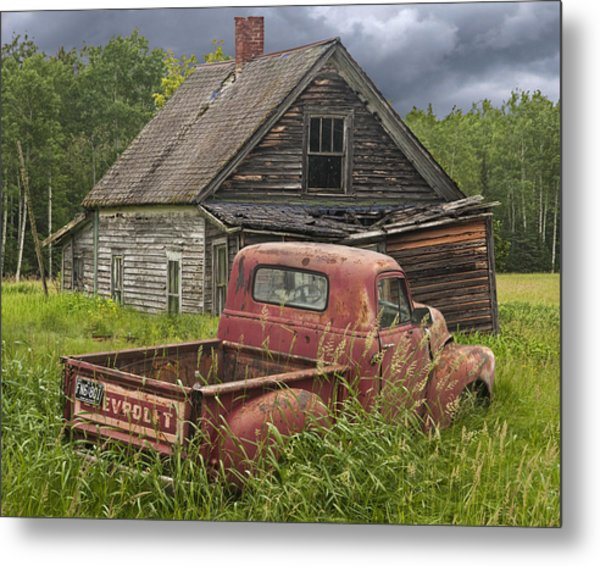 Old Abandoned Homestead And Truck Metal Print