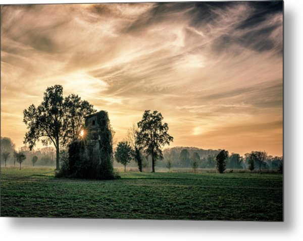 Old Abandoned House Covered By Vegetation At Sunset Metal Print