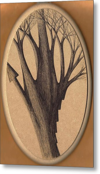 Old Age Lies In Wood Metal Print