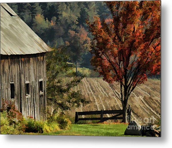 Old Barn And Field Metal Print