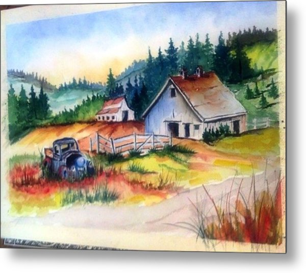 Old Barn And Truck Metal Print