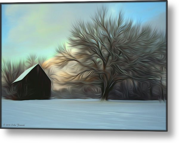 Old Barn In Snow Metal Print