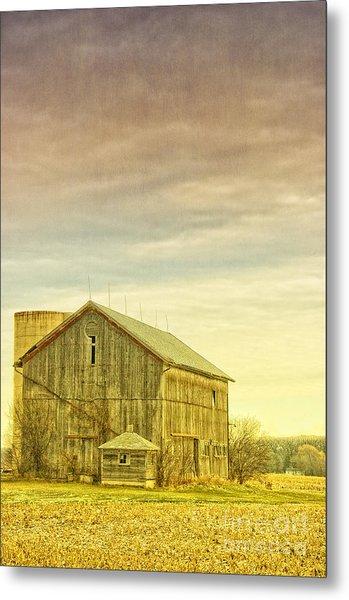 Old Barn With Silo Metal Print