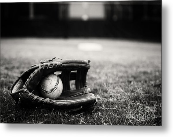 Old Baseball And Glove On Field Metal Print
