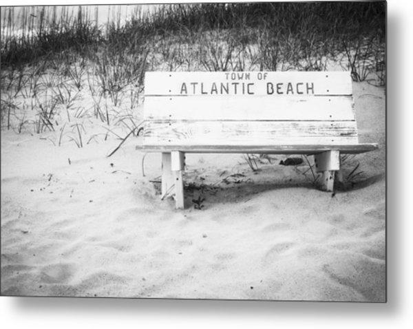 Old Beach Bench Metal Print