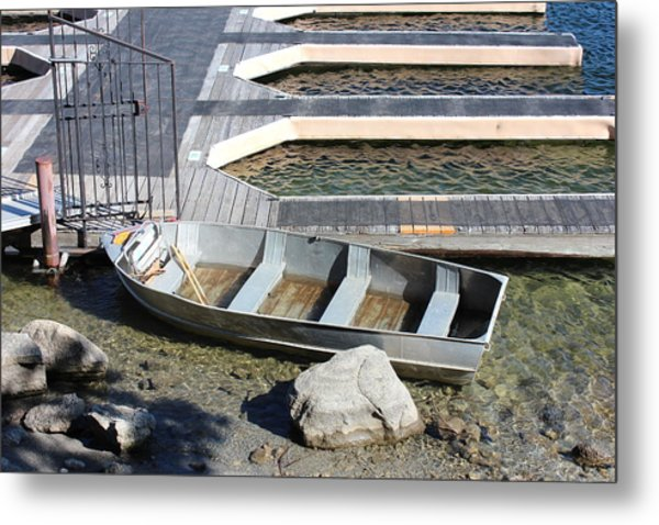 Old Boat And Dock Metal Print