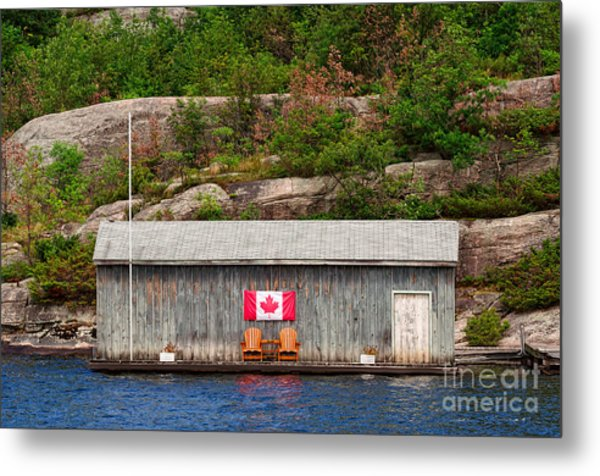 Old Boathouse With Two Muskoka Chairs Metal Print