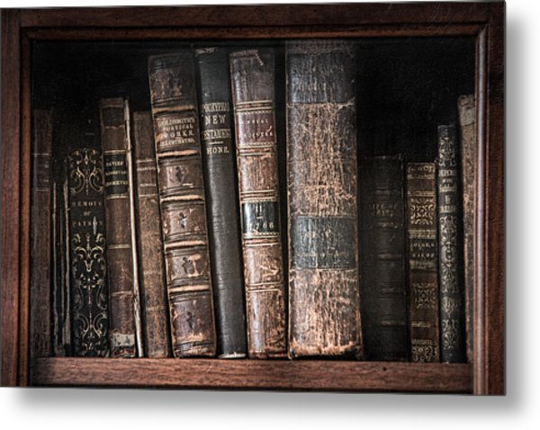 Metal Print featuring the photograph Old Books On The Shelf - 19th Century Library by Gary Heller