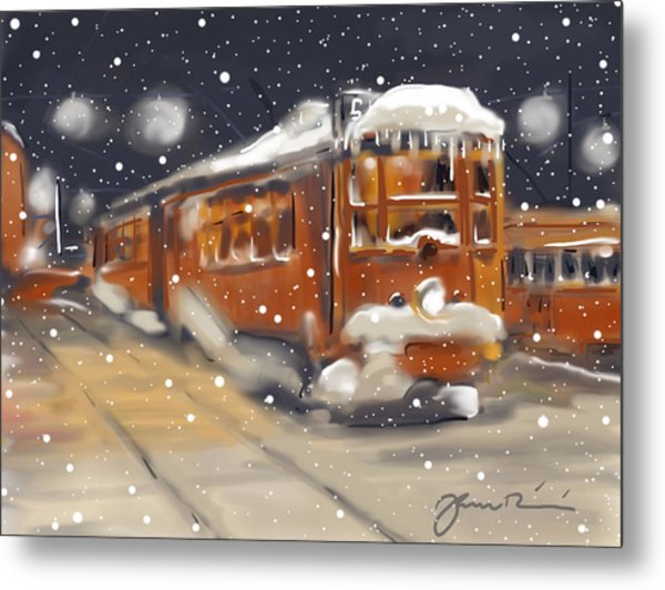 Old Boston Trolley In The Snow Metal Print