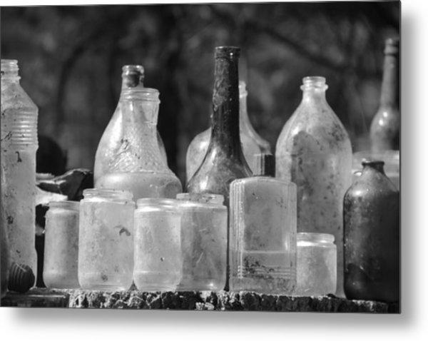 Old Bottles Two Metal Print by Sarah Klessig