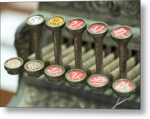 Old Cash Register Keys - Shillings And Pence  Metal Print by Sally Nevin
