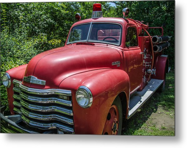 Old Chevy Fire Engine Metal Print