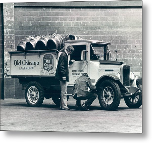Old Chicago Beer Vintage Truck Delivery Metal Print