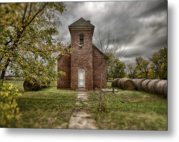 Old Church In Fall Metal Print