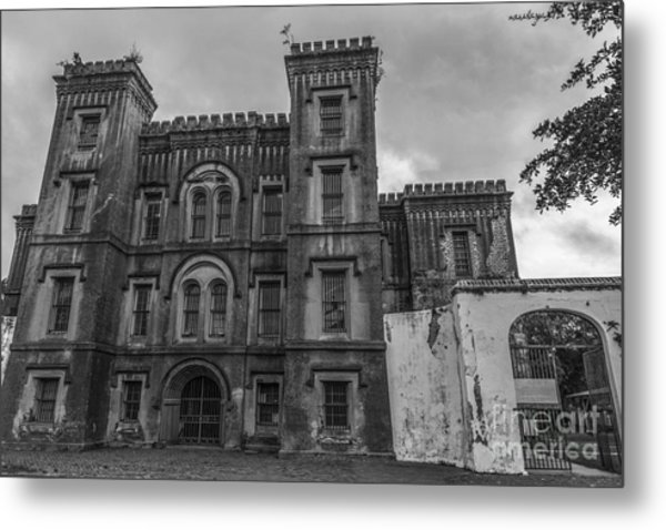 Old City Jail In Black And White Metal Print