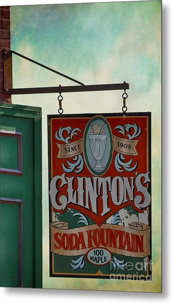 Old Clinton's Soda Fountain Sign Metal Print