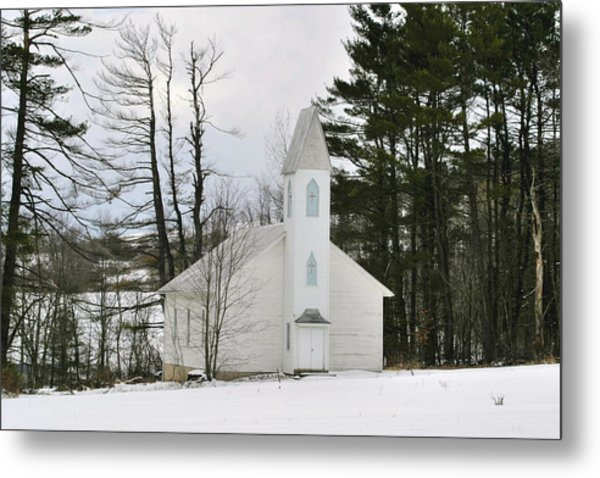 Old Country Church In The Winter Woods  Metal Print