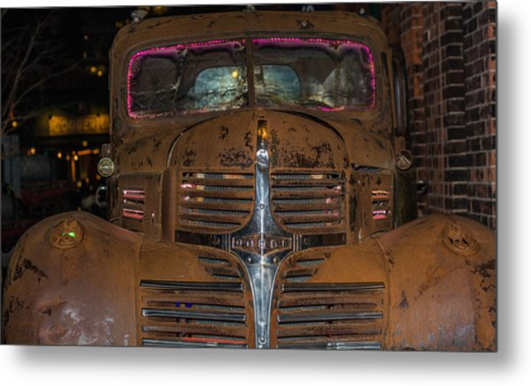 Old Dodge Truck In  Neon Metal Print