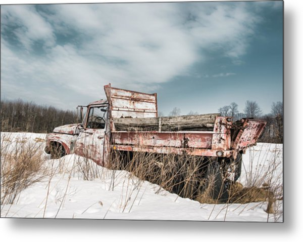 Old Dump Truck - Winter Landscape Metal Print