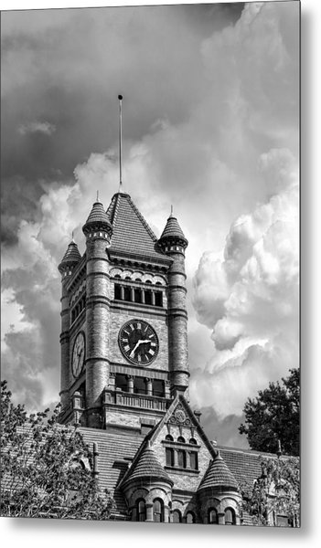 Old Dupage County Courthouse Clouds Black And White Metal Print