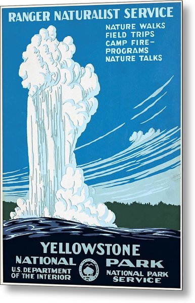 Old Faithful Yellowstone National Park Poster Ca 1938 Metal Print