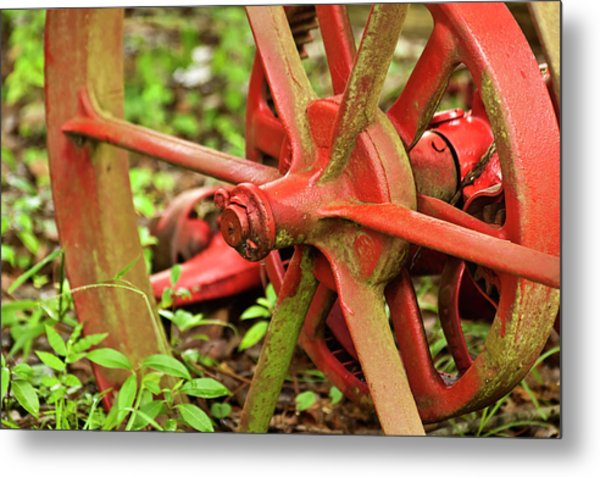 Old Farm Tractor Wheel Metal Print