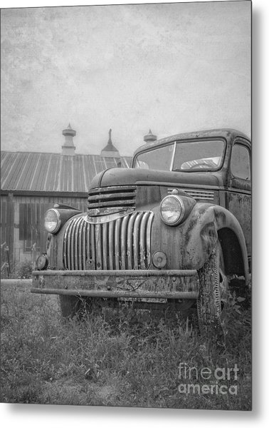 Old Farm Truck Out By The Barn Metal Print