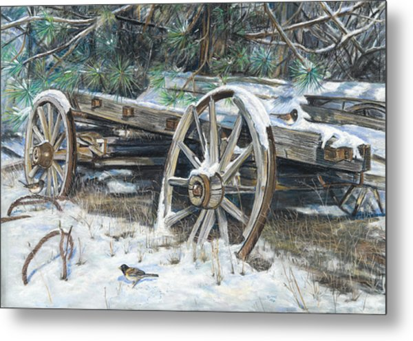 Old Farm Wagon Metal Print