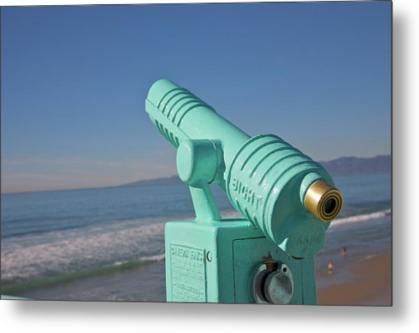 Old-fashioned Viewing Scope Near Ocean Metal Print