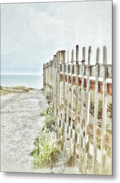 Old Fence To The Sea  Metal Print