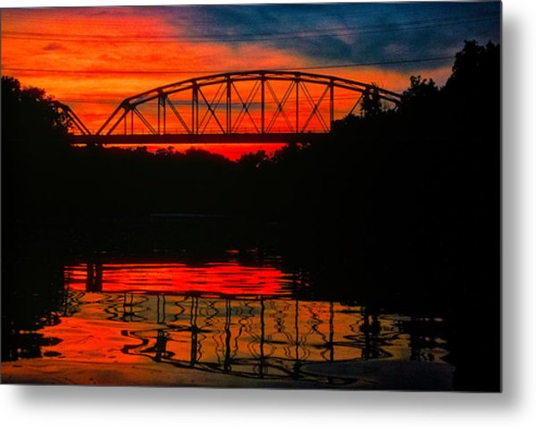 Old Gravois Bridge Silhoutte Metal Print