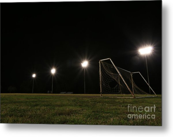 Old Grunge Soccer Goal On A Lit Field At Night Metal Print