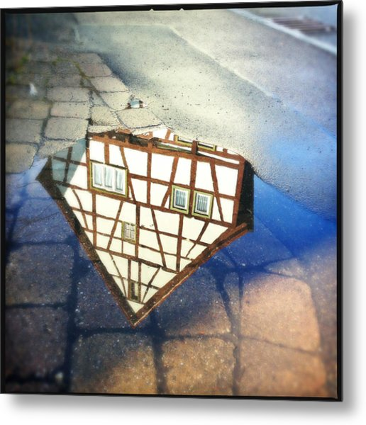Old Half-timber House Upside Down - Water Reflection Metal Print