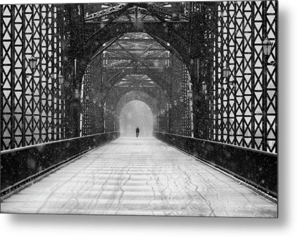 Old Harburg Bridge In Snow Metal Print by Alexander Sch?nberg