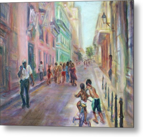 Old Havana Street Life - Sale - Large Scenic Cityscape Painting Metal Print