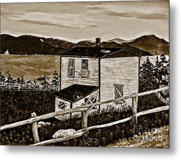 Old House In Sepia Metal Print