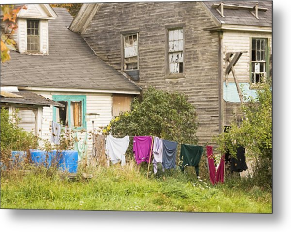 Old House With Laundry Metal Print