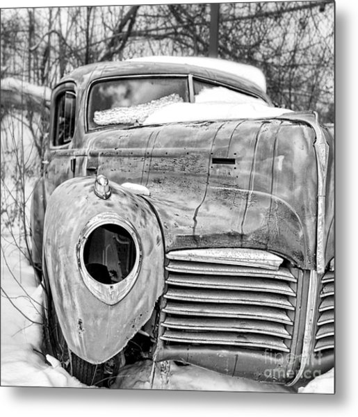 Metal Print featuring the photograph Old Hudson In The Snow Black And White by Edward Fielding