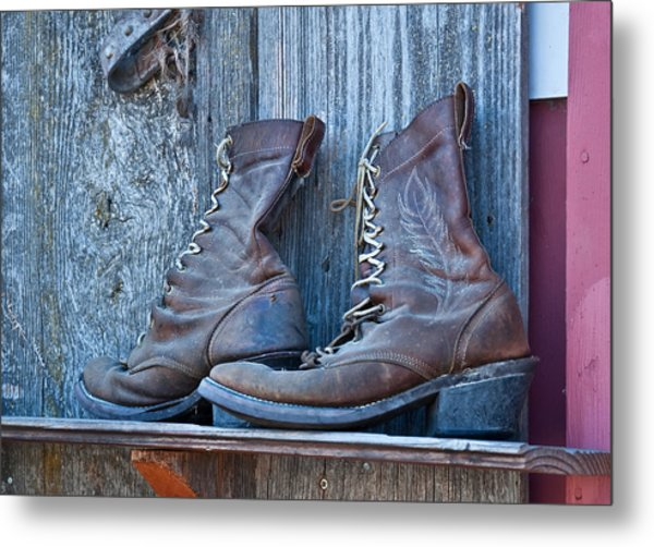 Old Leather Boots Still Life Metal Print